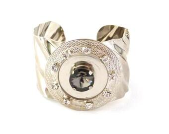 Cuff bracelet silver cuff Swarovski crystal metal bracelet metal jewelry modern bracelet silver cuff metal cuff crystal jewelry