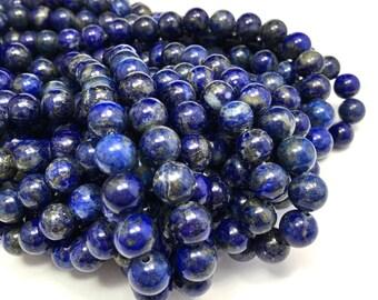 "8mm Smooth Lapis Lazuli Genuine Gemstone 15.5"" Strand (52 beads)"