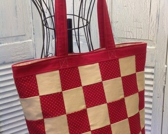 Bleu Redux (colors too!) Upcycle Checkered Denim Tote (DB18)