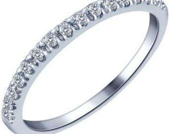 Stackable White Diamond Ring, 10k White Gold Wedding Band, 16 Stone Band, 0.20ct Anniversary Band, White Diamond Band, Handmade Wedding Ring