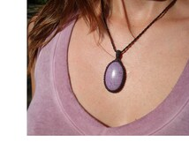 Purpurite Necklace/Innocence/Lilac/Lavender/Rare Stone/Macrame Jewelry/PLAY PLAY PLAY/Divine Child/Purpurite Pendant/Natural/Linen/Gaia :-)