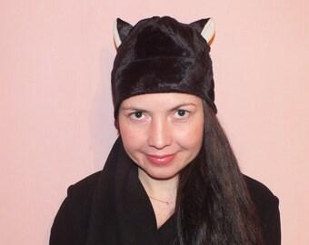 SEWING PATTERN Cat hat Sewing pattern women hat  hat PatternCat Hat sewing pattern Cat ears hat pattern Fur pattern Fleece hat pattern