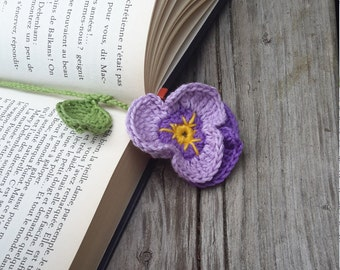 Bookmark hook bookmark flower, thought mauve with long stem, flower, thin bookmark bookmark, gift woman