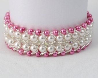 Swarovski Pearl and Deep Pink Bracelet