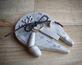 star wars wedding proposal ring holder geek wedding ring box ring bearer plate millenium falcon star wars cake topper ring dish - Star Wars Wedding Ring