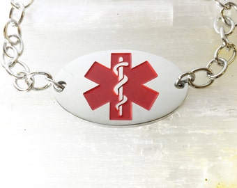 Stainless Steel Oval Medical ID Bracelet with Curb Chain and Lobster Clasp. FREE ENGRAVING
