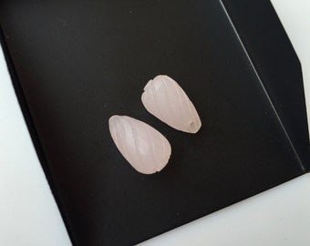 Hand Carved Rose Quartz Drop Carvings , Stone Carvings, Pink Gemstone Carvings, Matched Pairs, 15x9mm - SKU C7
