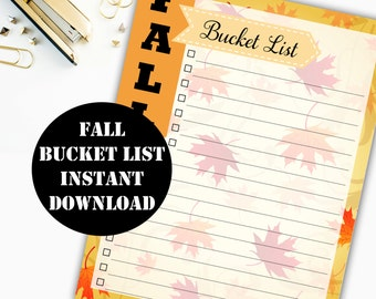 Fall Bucket List Printable Digital Download // Erin Condren Printable / Plum Paper Printable / Planner Insert Digital Download 00100