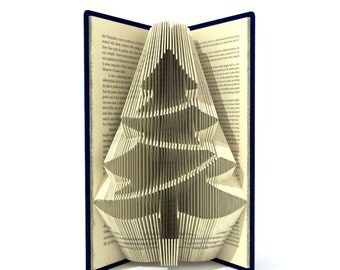 Book folding pattern - CHRISTMAS TREE - 212 folds + Tutorial with Simple pattern - Heart - FL0101