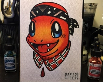 Cholo Charmander Tattoo Flash Print