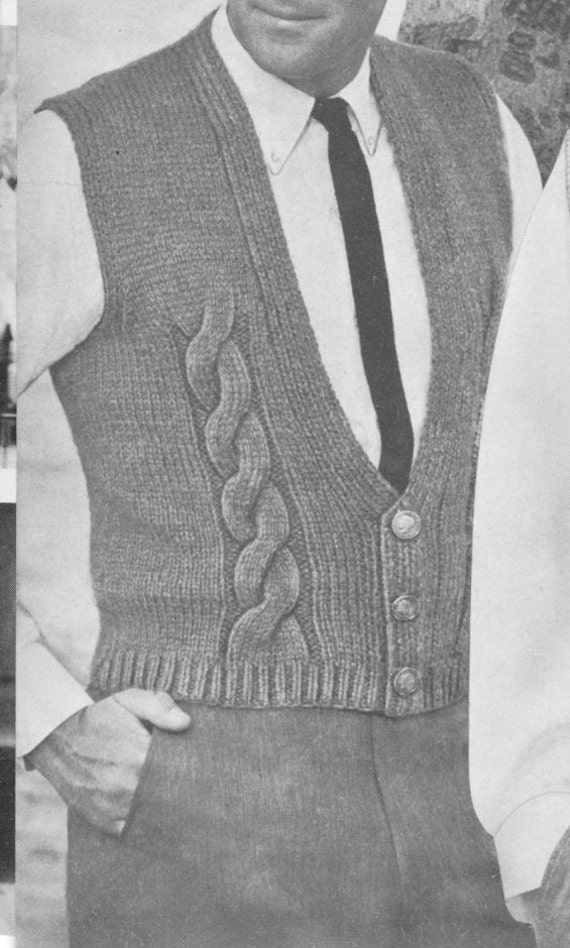 204 Pdf Men S Vest Knitting Pattern Cable Knit Vest