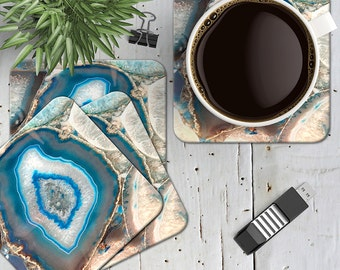 Turquoise Agate Geode Coasters, Turquoise Agate Gemstone Coasters, Geode Coasters, Set of 4 Cork Back Blue Boho Marble Agate Coasters