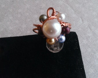 copper ring, swarovsky pearl ring, multicolor swarovsky pearl, handmade ring, handmade jewelry