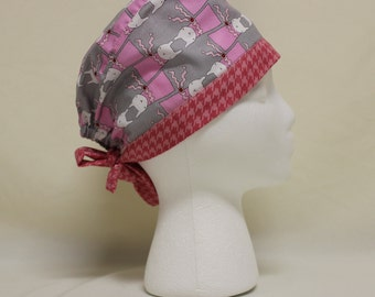 Pink Ric Rac Rabbits Houndstooth with Bunnies Surgical Scrub Cap Chemo Hat