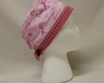 Pink Breast Cancer Awareness Ribbons and Houndstooth Surgical Scrub Cap Chemo Dental Hat