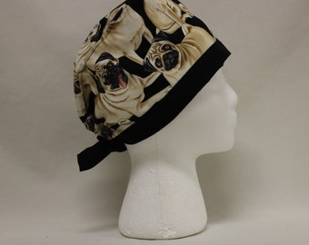Pug Dogs Surgical Scrub Cap Dental Chemo Hat