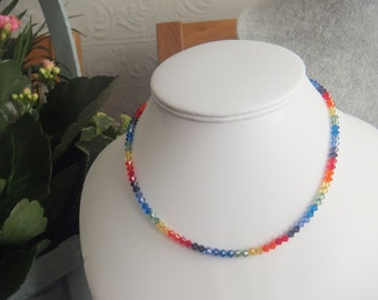 Swarovski 15 inch Choker Length 4mm Bicone Rainbow Colour Crystal Necklace