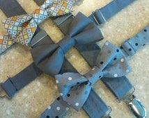 Grey Suspender and Bowtie Set, Boys Grey Suspenders, Choose your Bowtie-- Grey Yellow Bowtie, Solid Grey Bowtie, Grey Polka Dot Bowtie