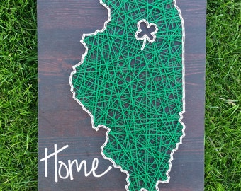 Illinois string art home state sign