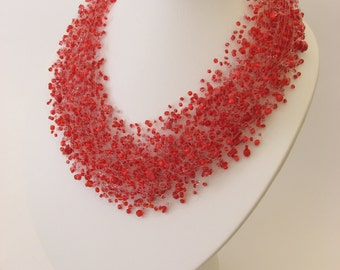 Red Airy Necklace Monofil Necklace Bead crochet necklace Bridesmaid Necklace Beadwork.Wedding. FREE SHIPPING
