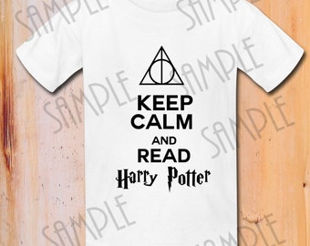 """Harry Potter T-shirt """"Keep Calm and Read Harry Potter  """"Harry Potter T-shirt Printable iron on transfer,Digital Download,Deathly Hallows"""