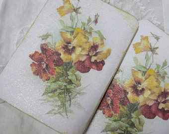 6 Autumn Fall Flowers Large Note Cards, Antique Catherine Klein florals, Set of 6, Victorian, Vintage Style, Stationery