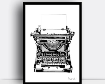 Typewriter print (limited edition A3 screenprint) - Vintage style