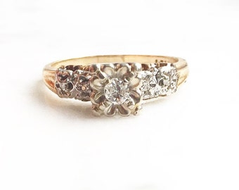 Art Deco 14k Tri-Color Gold 1930's Size 8 Fine Diamond Engagement Ring with Shoulder Diamond Accents