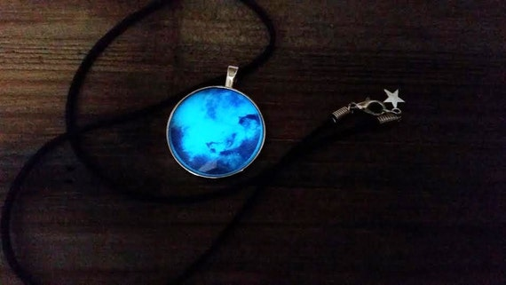 Glowing Galaxy Necklace, Glow in the Dark Nebula, Outer Space, Celestial Rainbow, Galactic Jewelry, Glowing Space Black Hole, Geek Gift