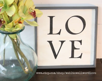 LOVE small wood sign, distressed wood love sign, love alphabet sign, gallery wall art, fixerupper style love sign, love wood sign, love art