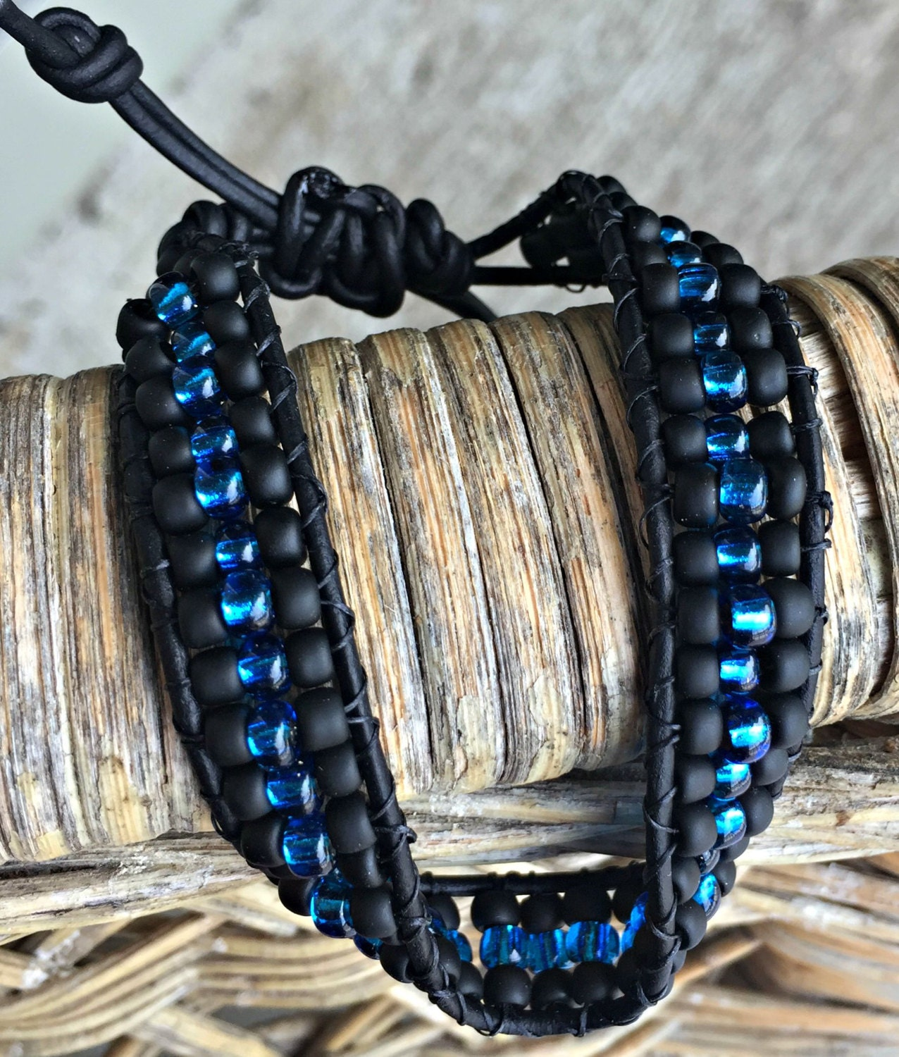 thin blue line beaded leather bracelet thin blue line
