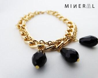 Black crystal bracelet in gold color, Crystal Bracelet