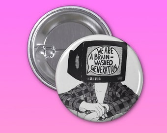 Brainwash Radiohead Pinback Button 1 1/4 Inch, Backpack Pin, Backpack Button