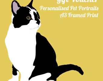 Gift Voucher - A3 Framed personalised pet portrait. Valid for 2 years.