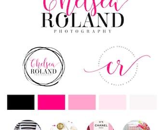Fuchsia Logo Design, Custom Logo Design, Fashion Branding kit Logo Design Premade Branding Package, stamp,  Photography Logo, watermark