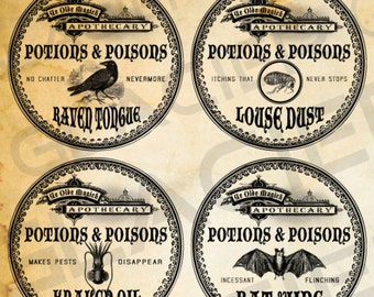 """2"""" Round Halloween Witch Aged Apothecary Potion Labels Digital Download Bottle Witch Jar Tags Vintage Style Image Clip Art Printable Collage"""
