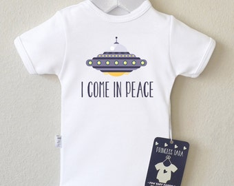 Space Ship Baby Clothes. I Come in Peace. Trendy Baby Shirt. Alien Space Ship Baby Bodysuit. Funny Baby Clothes