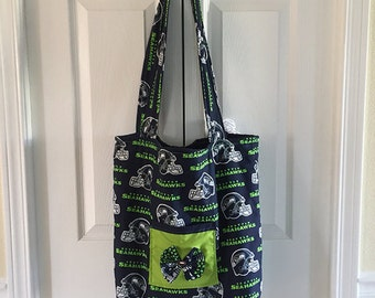 Home stitched Seattle Seahawks Tote with Outside & Inside Pockets