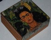 Frido Kahlo Decorative Decoupage Wooden Trinket Box Thorn Necklace and Hummingbird