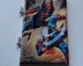 Marvel Spider Man and Captain America Decoupage Light Switch Cover
