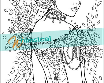 Lady coloring pages hard coloring pages by WhimsicalPublishing