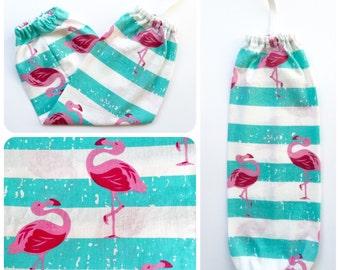 Plastic Bag Holder/ Grocery Bag Holder/ Bag Dispenser - Flamingos