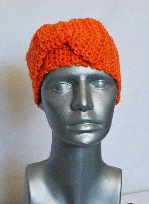 Orange Crochet Bow Ear Warmer, Head Wrap, Winter Headband - Carrot, Pumpkin
