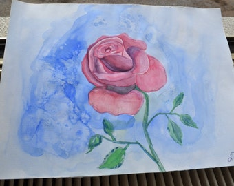Rose original painting. Blue painting. Gift for mom. OOAK