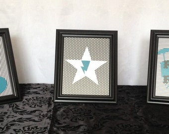 Rock Star Themed Framed Center Display - Baby Shower or Birthday Party