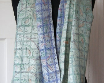 Large Silk Scarf in Duck Egg Blue