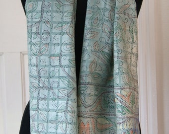 Silk Scarf in Duck Egg Blue