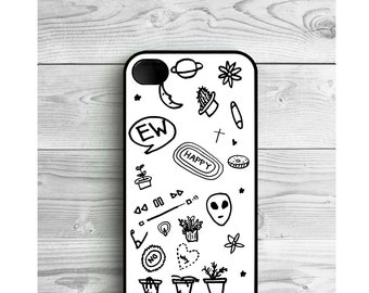 Phone Case Black and White Tumblr For iPhone 4/4S, iPhone 5/5S, iPhone 5c, iPhone 6, iPhone 7, Galaxy S4, S5, S6, S6EDGE, Note3 & Note4