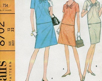 FREE US SHIP McCall's 8702 Retro 1960's Uncut Top Skirt 32 Sewing Pattern Jackie Style 60's Vintage