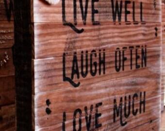 "Live Well Laugh Often Love Much-1750 farmhouse decor-12x12x2""-shiplap-shabby chic decor-fixer upper-reclaimed-farmhouse-minimalist"